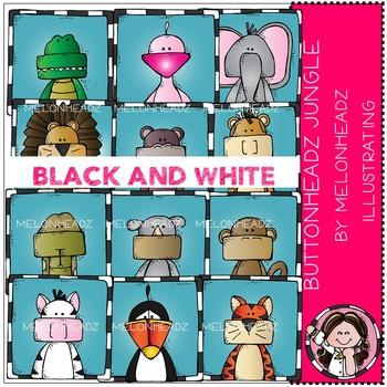 Melonheadz: Buttonheadz Jungle clip art - BLACK AND WHITE