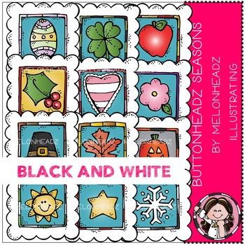 Melonheadz: Buttonheadz Seasons clip art -  BLACK AND WHITE