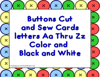 Buttons Cut and Sew cards Aa Thru Zz