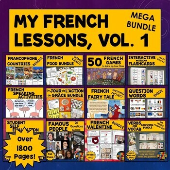 All My French Lesson Plans, Activities, Games Growing Bundle