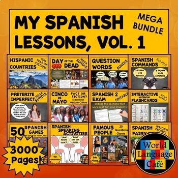 All My Spanish Lesson Plans, Activities, Games Growing Bundle