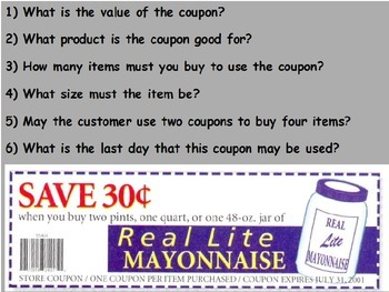 Buying Food - Reading and Understanding Coupons; Real Worl