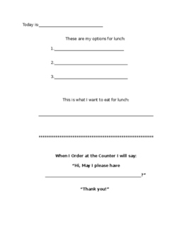 Buying Lunch Worksheet