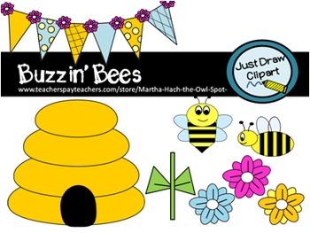 Buzzin' Bees Clip Art