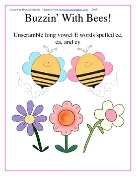 Buzzin' With Bees Long Vowel E game - Unscramble words spe
