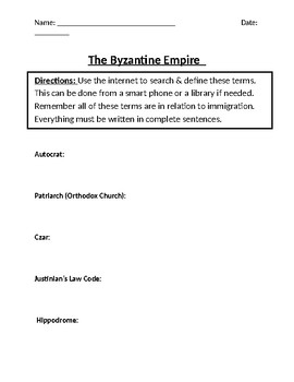 Byzantine Empire Homework Definitions