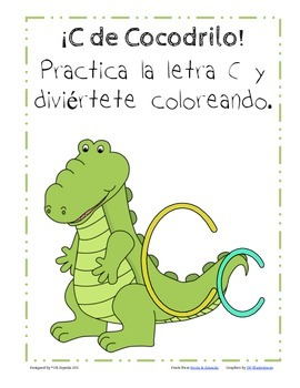 C de Cocodrilo-Letter C Practice Packet-Spanish
