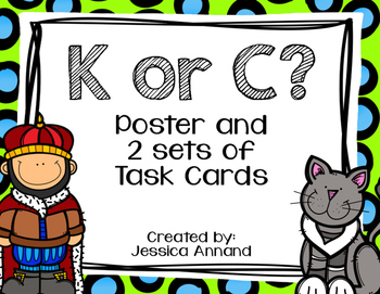 C or K initial sound poster and task cards
