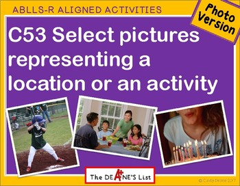C53 Select pictures representing a location or an activity