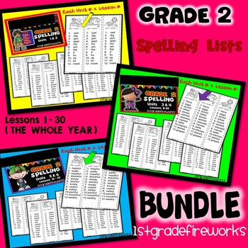 SECOND GRADE Spelling BUNDLE Units 1-6