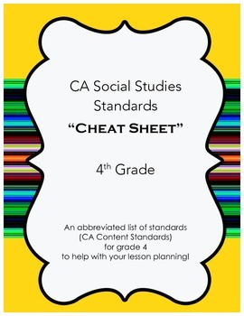 "CA Social Studies Standards ""Cheat Sheet""- 4th Grade"