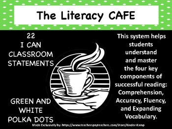 """The Literacy CAFE Board """"22 I Can Statements"""" Green Polka-"""