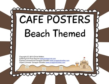 CAFE Posters - Beach Themed