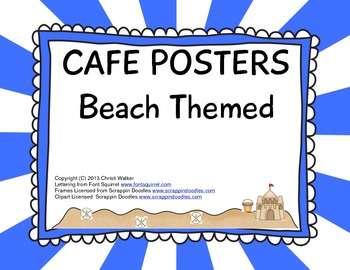 CAFE Signs Beach Themed - Blue