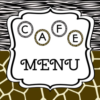 CAFE menu zoo/safari themed - regular and emergent versions