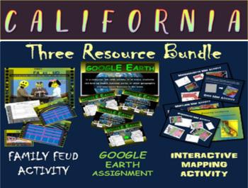 CALIFORNIA 3-Resource Bundle (Map Activty, GOOGLE Earth, F