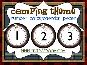 CAMPING THEME NUMBER CARDS/CALENDAR PIECES-classroom theme