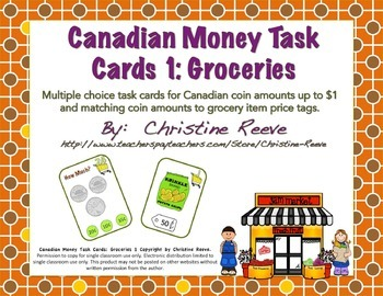 CANADIAN Money Task Cards 1--Groceries (Special Education-