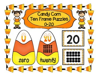 CANDY CORN TEN FRAME PUZZLES 0-20 PLUS MATCHING CARDS MATH