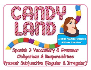 CANDYLAND game Spanish 3 obligations/responsibilities, pre