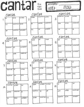 CANTAR ~tic tac toe ~Spanish verb conjugation game -AR ver