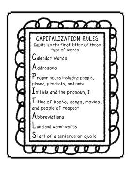 CAPITALS - Capitalization Rules acrostic