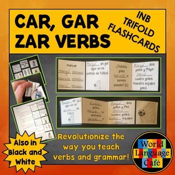 Car, Gar, Zar Verbs Trifold Spanish Flashcards