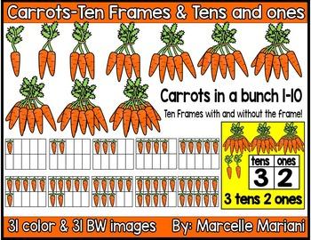 Place value clipart & ten frames-Carrots