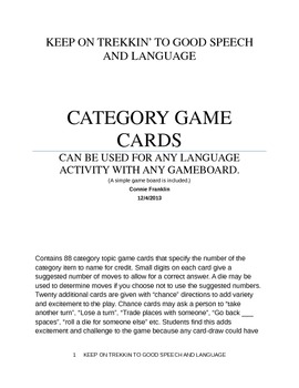 CATEGORY GAME CARDS
