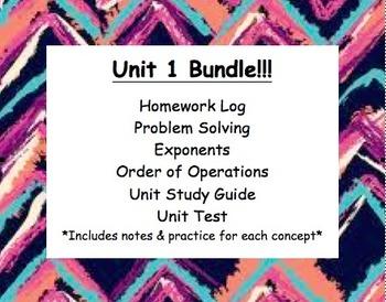 CC 6th grade math Unit BUNDLE: Problem Solving, Exponents