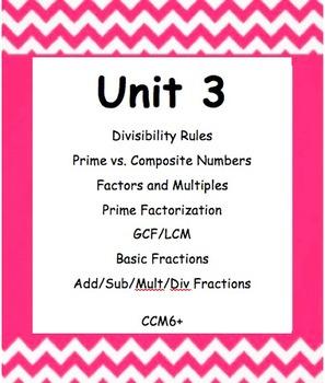CC 6th grade math Unit BUNDLE: Prime Factorization, GCF/LC