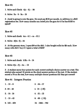 CC Math 7 Multistep Equations Stations and HW