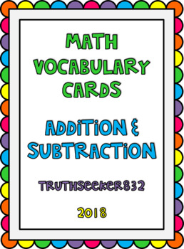 CC Vocab Cards - 1st Grade - Math - Addition and Subtraction