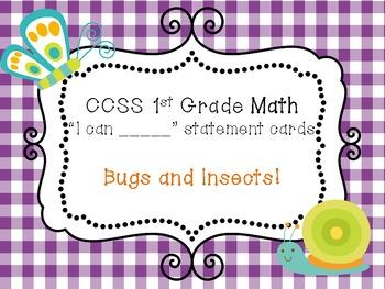 CCSS 1st Grade Math Teacher Checklist + I can Statement Ca