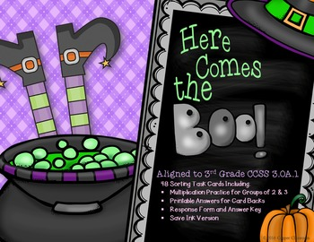 CCSS 3.OA.1 Halloween, Multiplication, Arrays, Task Cards,