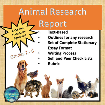 """CCSS """"ANIMALS RESEARCH PROJECT"""" TEXT-BASED WRITING ASSIGNMENT"""