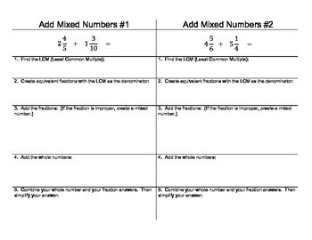 Add Mixed Number (Unlike Denominators) Printable Step By S