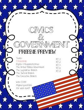 CCSS Aligned Close Reading Freebie: Citizenship
