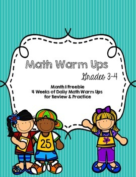 CCSS Aligned FREE Math Warm Up 4 Week Month 1 Set Grades 3-4