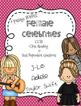 CCSS Aligned: Female Celebrities Close Reading 3 passage bundle