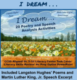 """CCSS Aligned """"I Dream"""" Poetry and Speech Analysis Activities"""