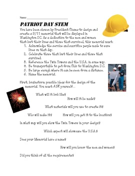 3rd-5th Grade CCSS Aligned Patriot Day STEM Project