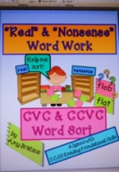 CCSS Aligned Real and Nonsense Word Work Literacy Center A