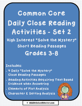 CCSS Common Core Reading Test Review High Interest Mysteri