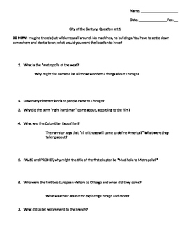 """CCSS/Critical Thinking questions for """"City of the Century"""" Film"""