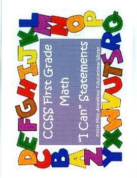 "CCSS First Grade Math ""I Can"" Statements"