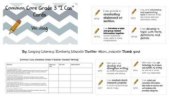 """CCSS Grade 3 Writing """"I Can"""" Cards and Teacher Standards C"""