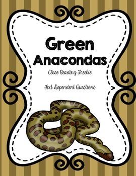 CCSS Green Anacondas: Free Snakes Close Passage + Text Dep