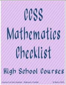 CCSS High School Mathematics Curriculum Checklist (Quarters)