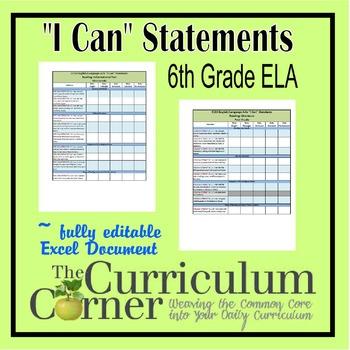 "CCSS ""I Can"" Statements Checklists 6th Grade ELA Fully Edi"